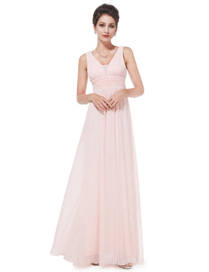 V Front Back Evening Dress Pink