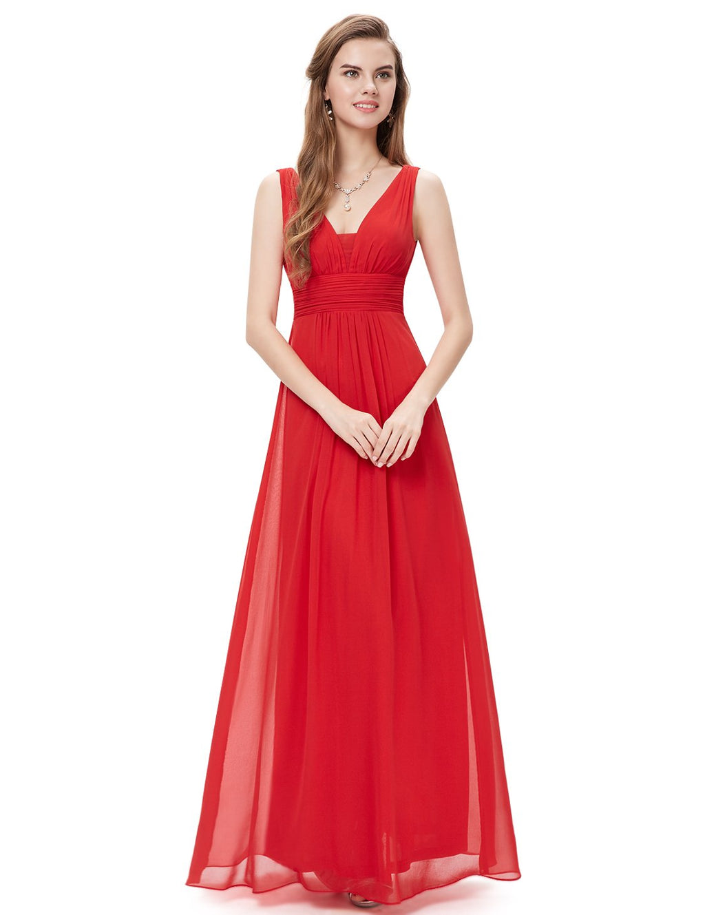 V Front Back Evening Dress Red
