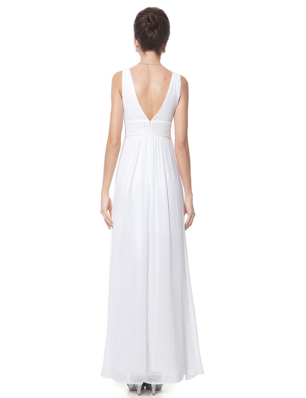 V Front Back Evening Dress White