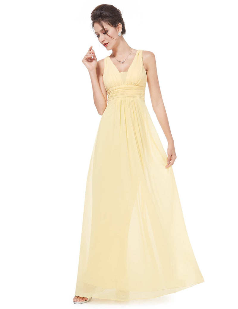 V Front Back Evening Dress Yellow
