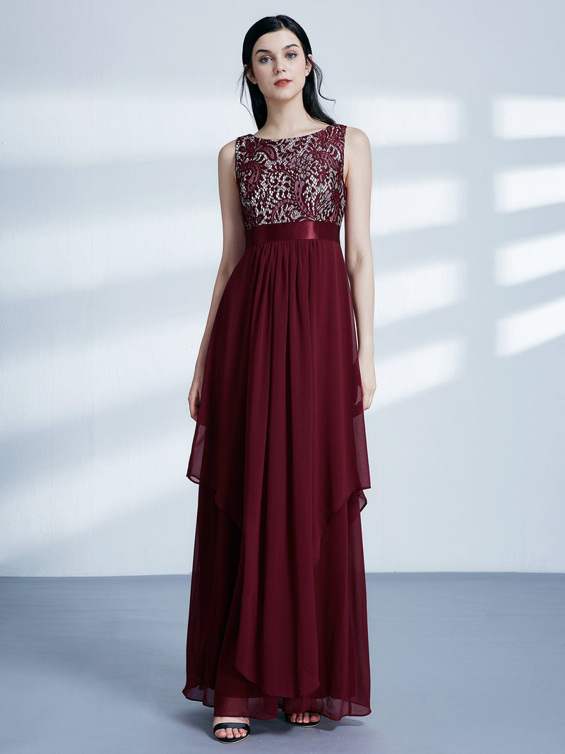 Round Neck Long Dress Burgundy