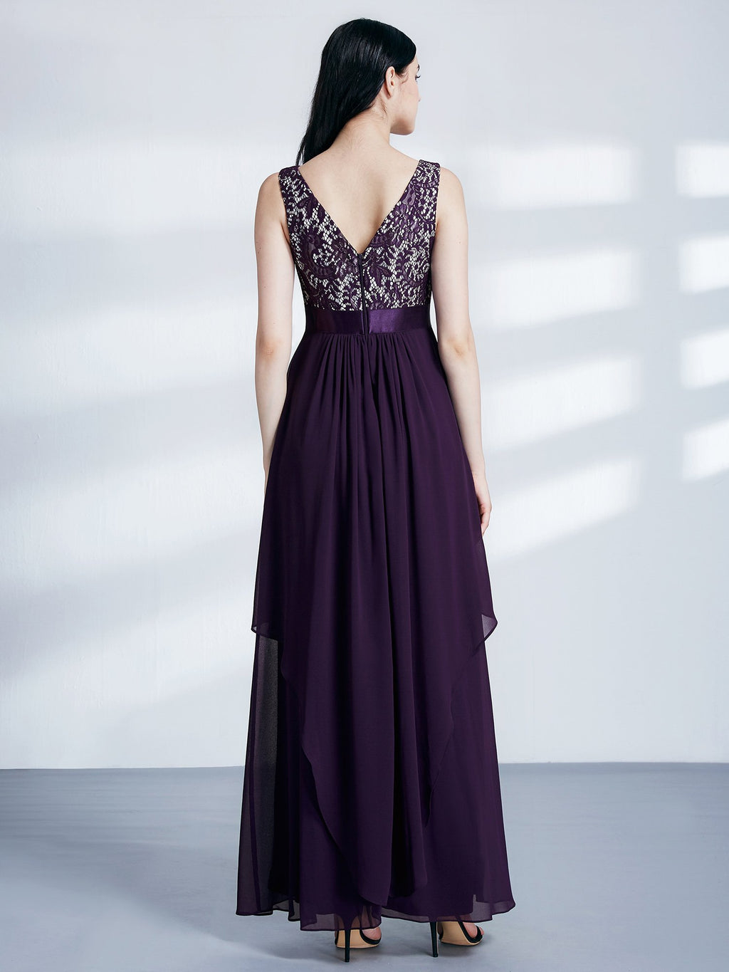 Round Neck Long Dress Dark Purple