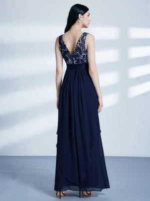 Round Neck Long Dress Blue