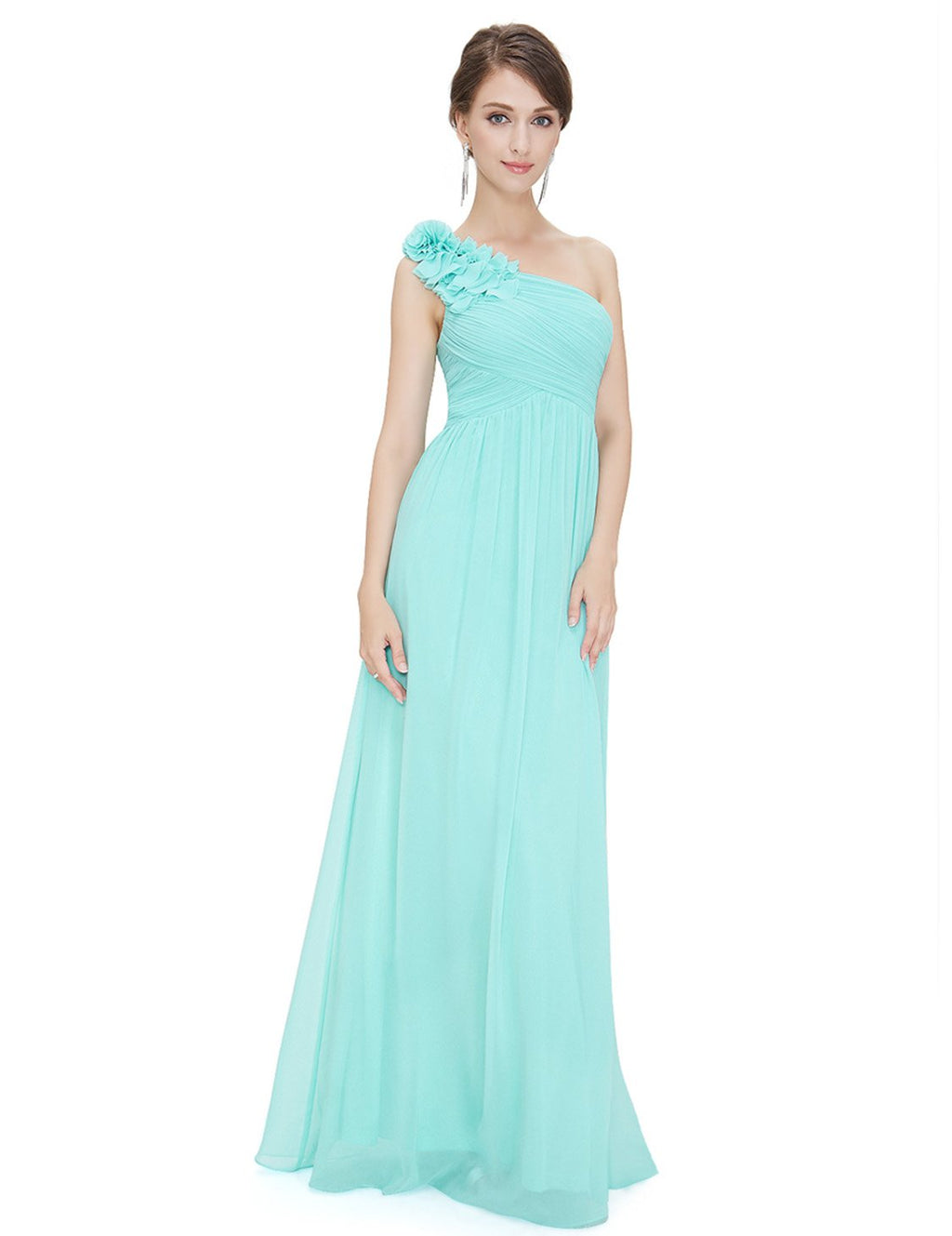 Floral Shoulder One Shoulder Evening Dress Aqua