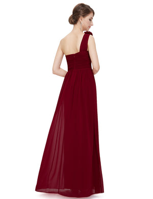 Floral Shoulder One Shoulder Evening Dress Burgundy