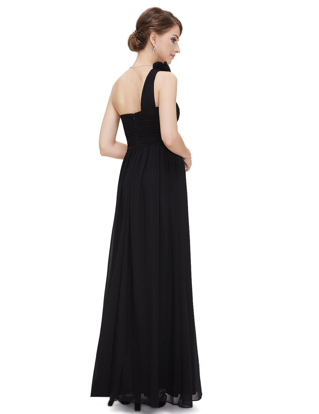 Floral Shoulder One Shoulder Evening Dress Black