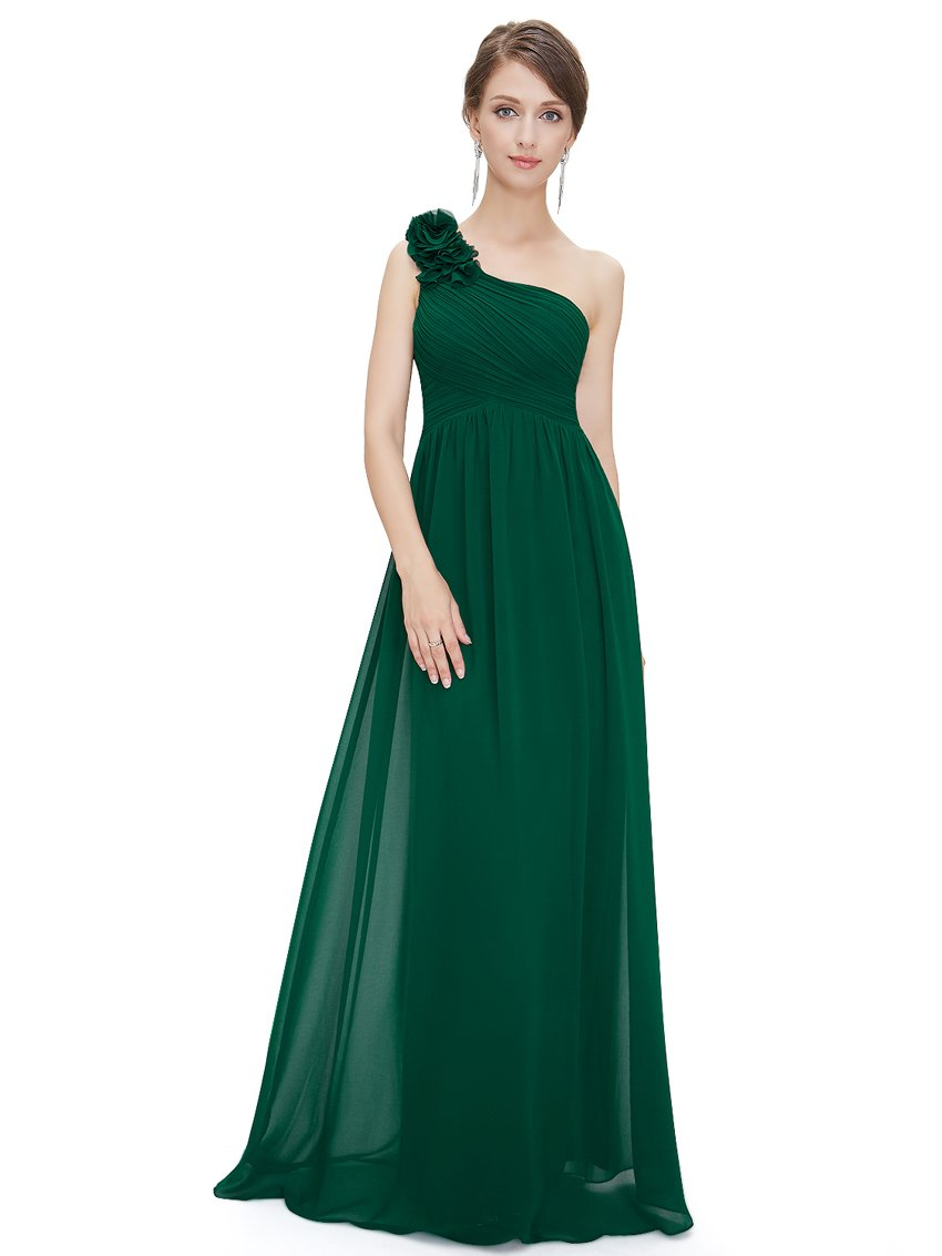 Floral Shoulder One Shoulder Evening Dress Dark Green