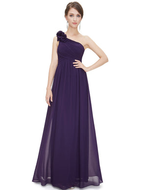 Floral Shoulder One Shoulder Evening Dress Dark Purple
