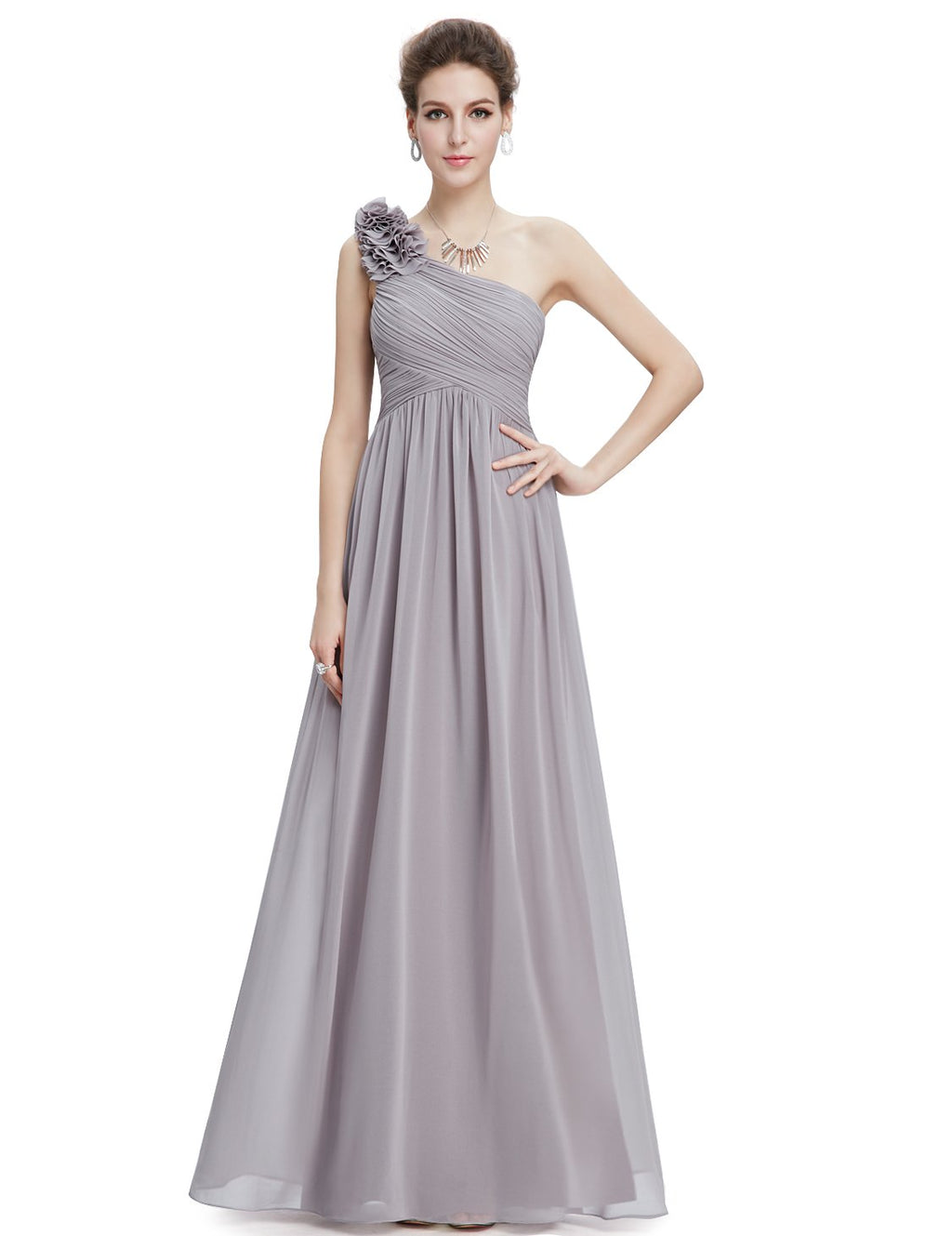 Floral Shoulder One Shoulder Evening Dress Grey