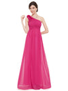 Floral Shoulder One Shoulder Evening Dress Hot Pink