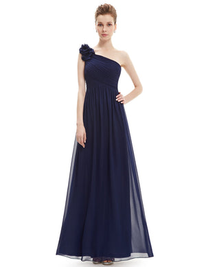 Floral Shoulder One Shoulder Evening Dress Navy Blue