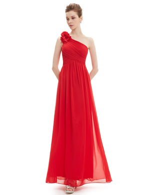 Floral Shoulder One Shoulder Evening Dress Red
