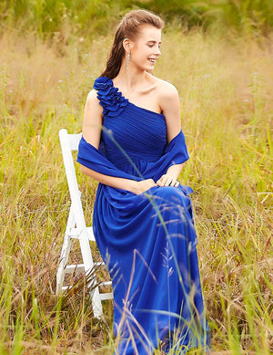 Floral Shoulder One Shoulder Evening Dress Sapphire Blue