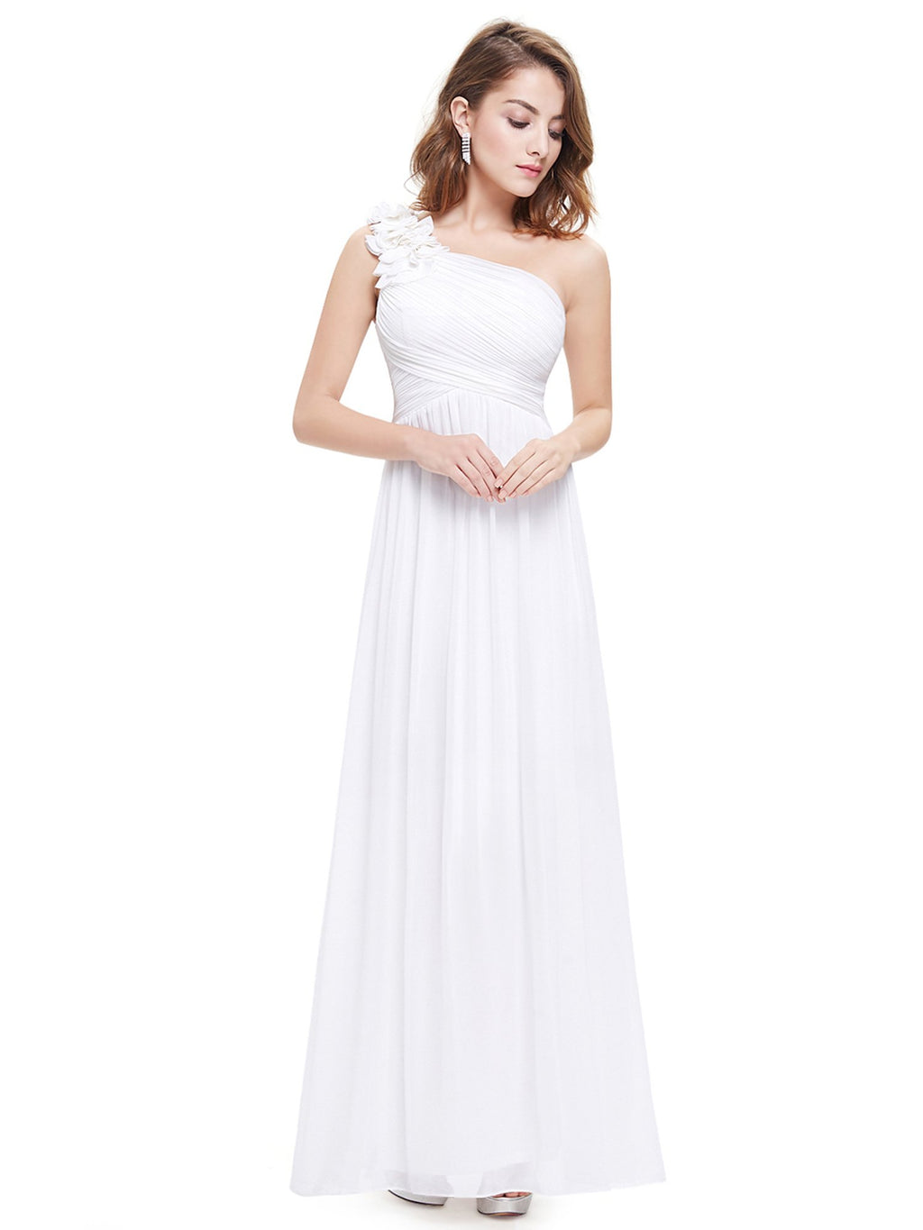 Floral Shoulder One Shoulder Evening Dress White
