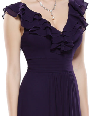 Ruffles Neckline Long Dress Dark Purple