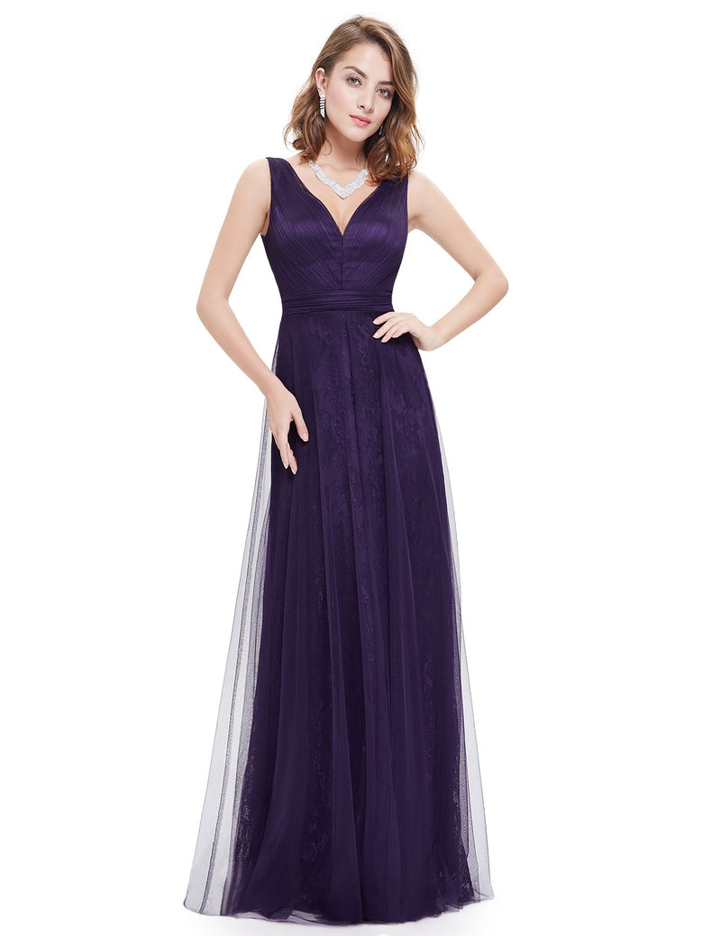 Sexy Neckline Long Dress Dark Purple