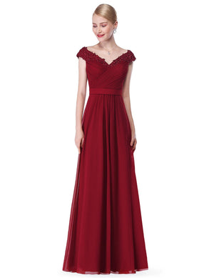 Long V Neck Dress Burgundy