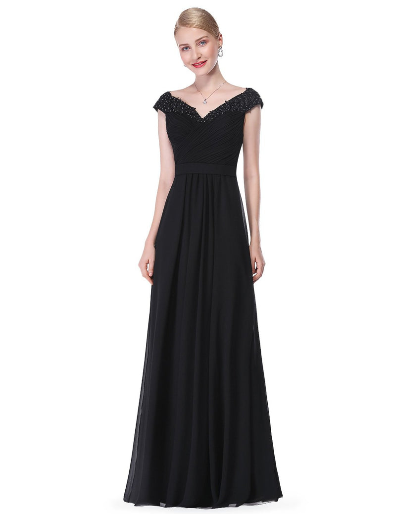 Long V Neck Dress Black