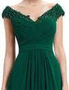 Long V Neck Dress Dark Green