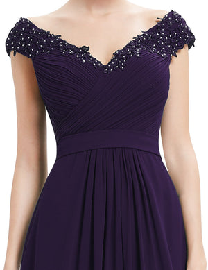 Long V Neck Dress Dark Purple