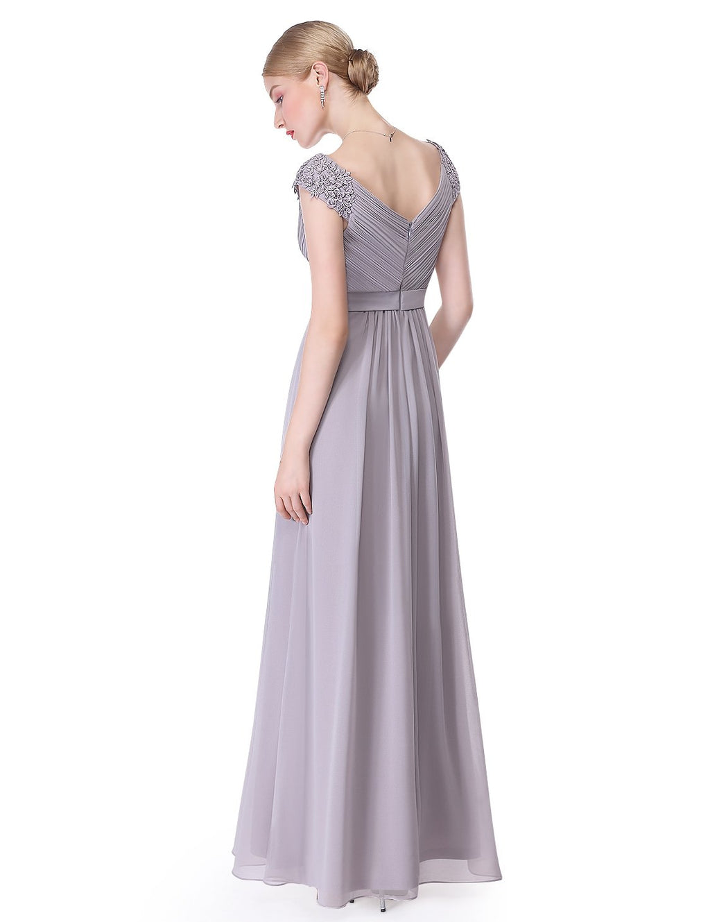 Long V Neck Dress Grey