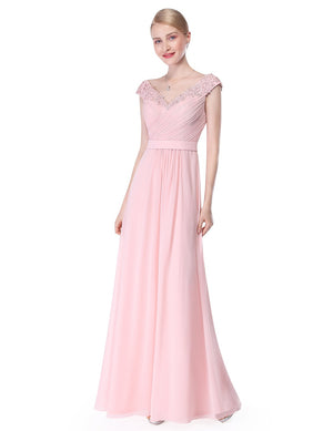 Long V Neck Dress Pink