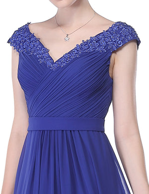 Long V Neck Dress Sapphire Blue