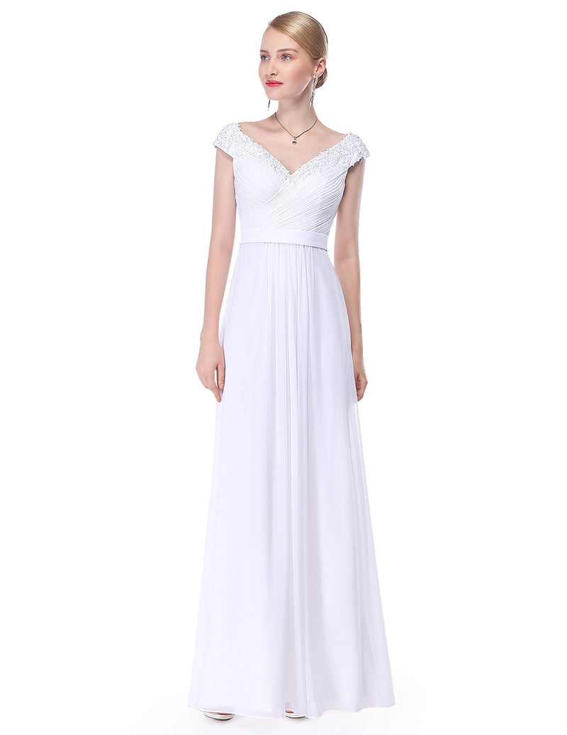 Long V Neck Dress White