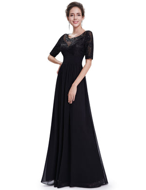Elegant Sleeves Sexy Long Gown Black