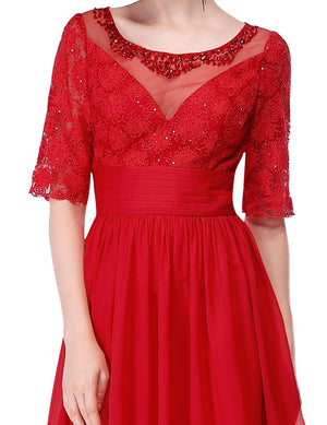 Elegant Sleeves Sexy Long Gown Red