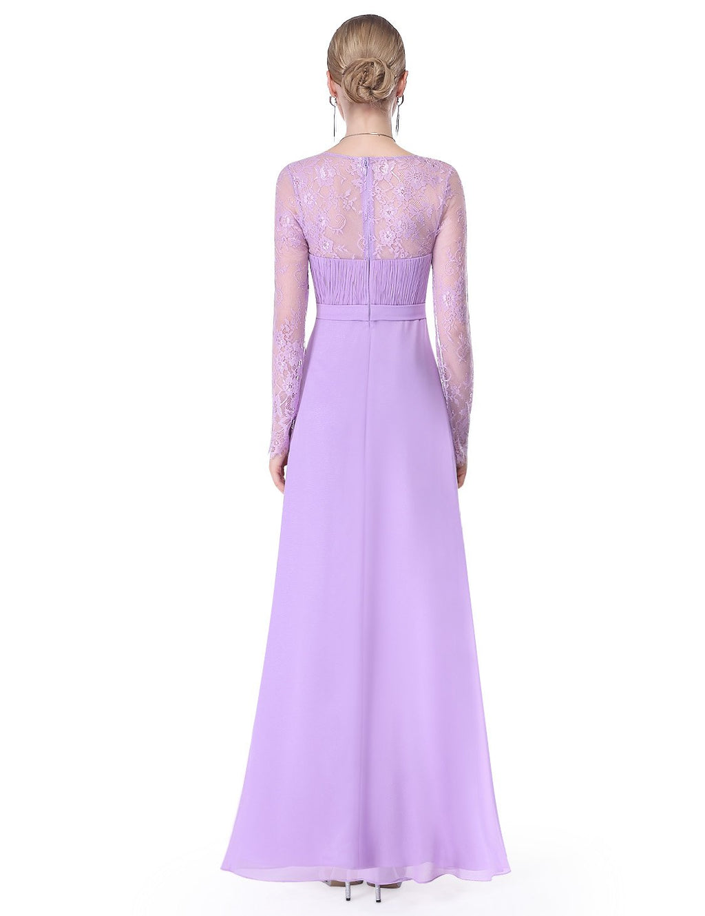 V Neck Long Party Maxi Gown Light Purple
