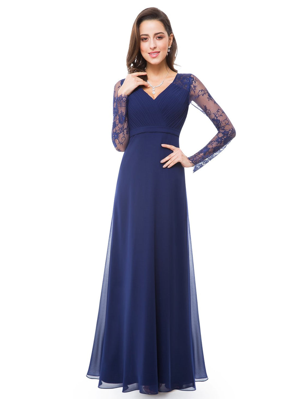 V Neck Long Party Maxi Gown Navy Blue
