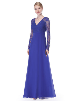 V Neck Long Party Maxi Gown Sapphire Blue