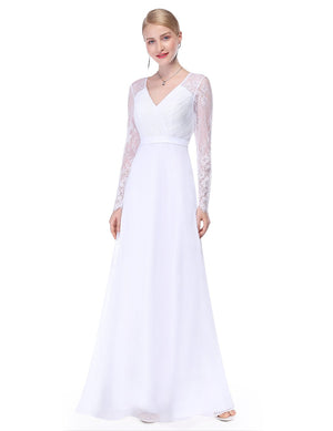 V Neck Long Party Maxi Gown White