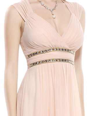 Sexy Neckline Dress Beige