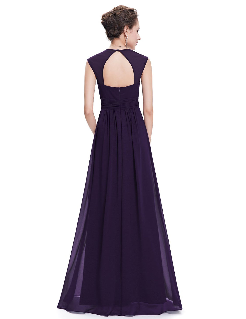 Sexy Neckline Dress Dark Purple