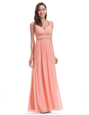 Sexy Neckline Dress Peach