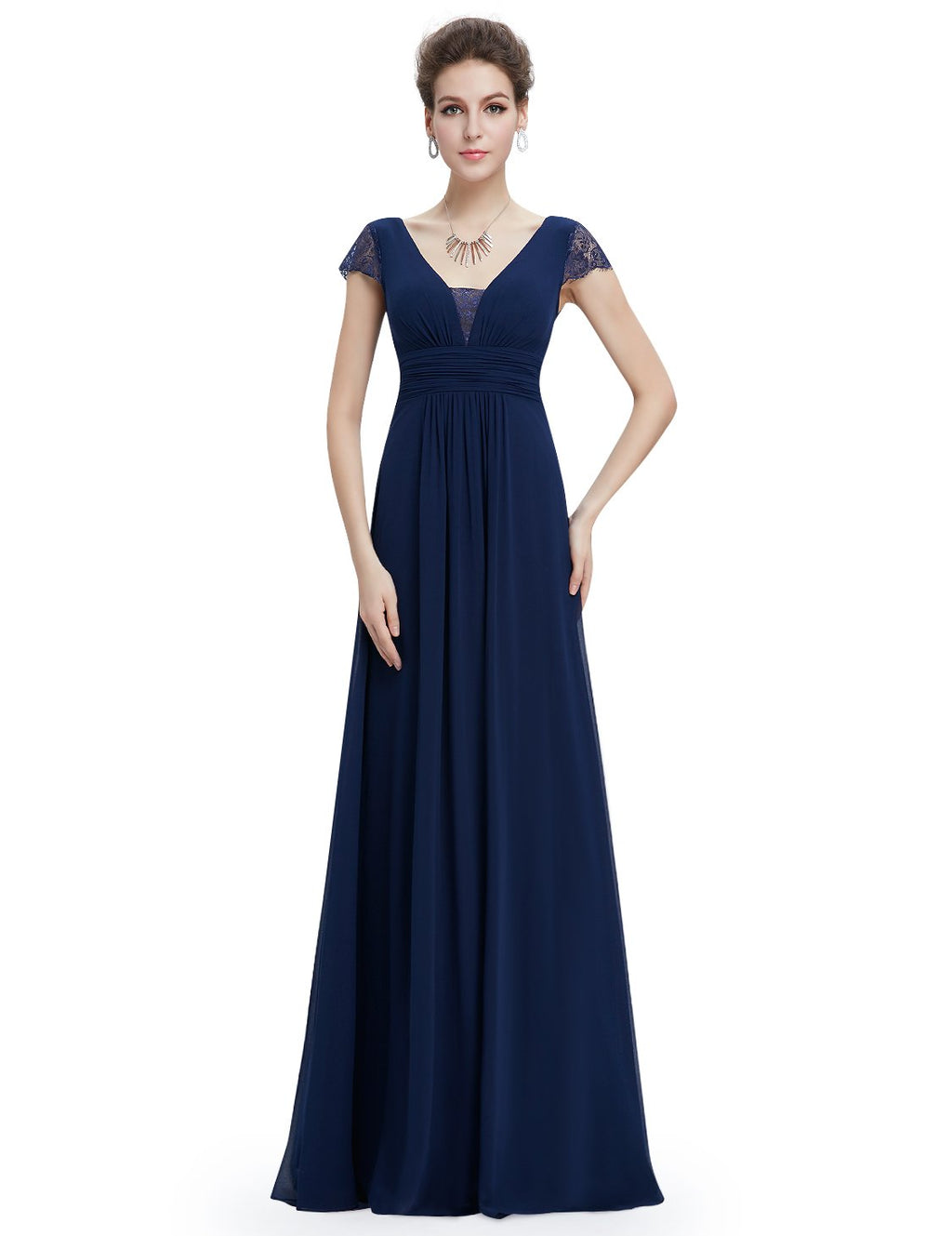 Short Sleeves Long Dress Navy Blue