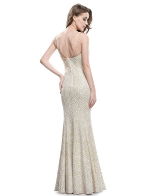 Sexy V Neck Back Party Long Dress Beige