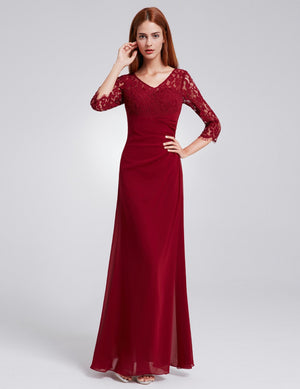 Half Sleeves Gorgeous Long Maxi Gown Burgundy