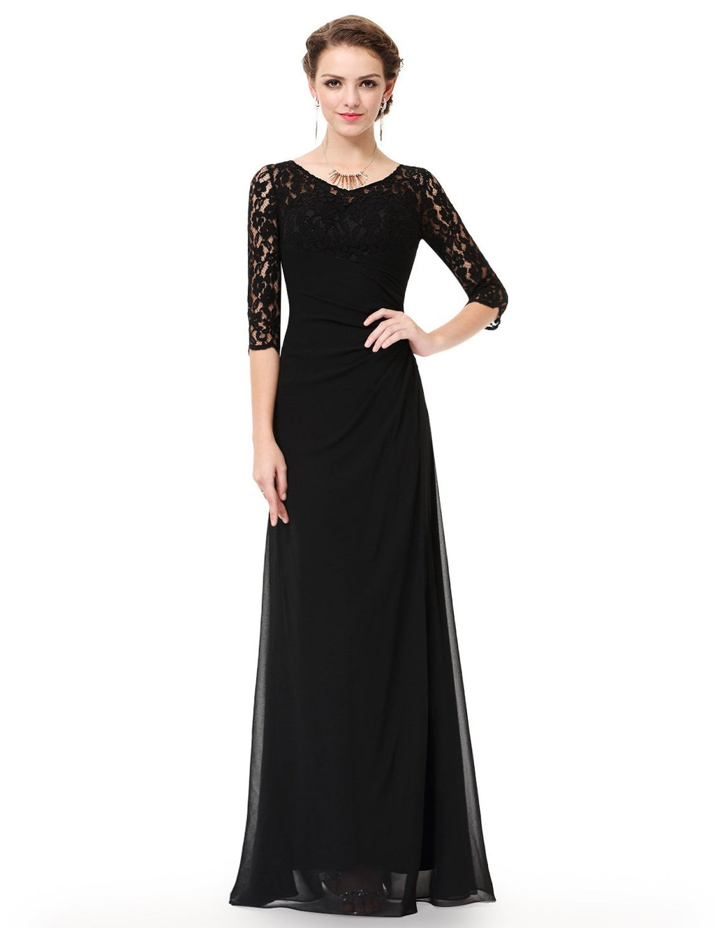 Half Sleeves Gorgeous Long Maxi Gown Black