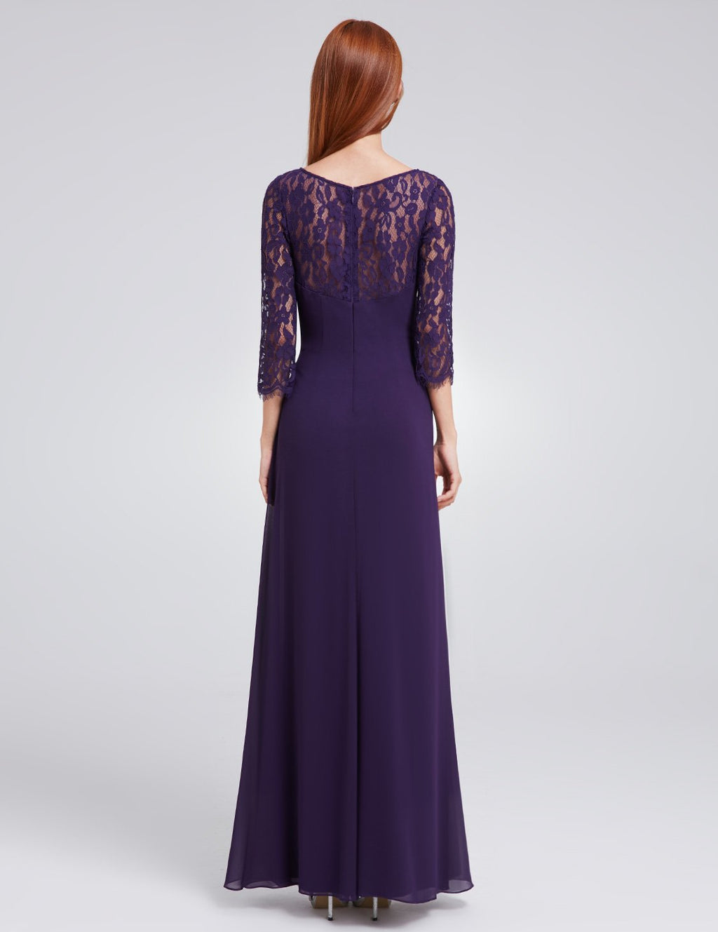 Half Sleeves Gorgeous Long Maxi Gown Purple