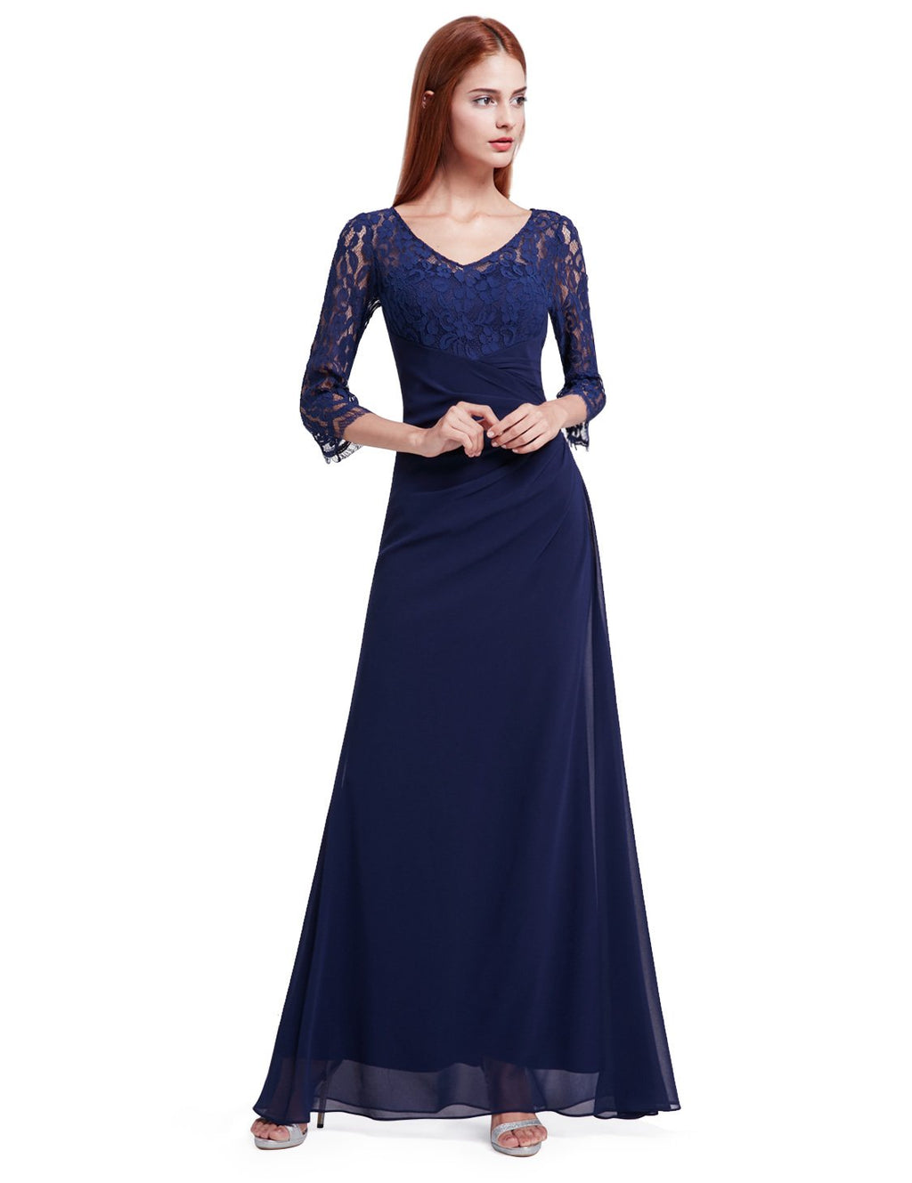 Half Sleeves Gorgeous Long Maxi Gown Navy Blue