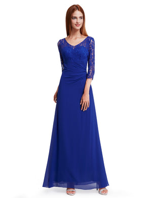 Half Sleeves Gorgeous Long Maxi Gown Sapphire Blue