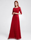 Half Sleeves Party Gorgeous Gown Burgundy