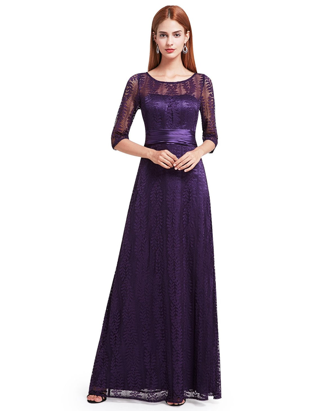 Half Sleeves Party Gorgeous Gown Purple