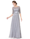 Half Sleeves Party Gorgeous Gown Grey