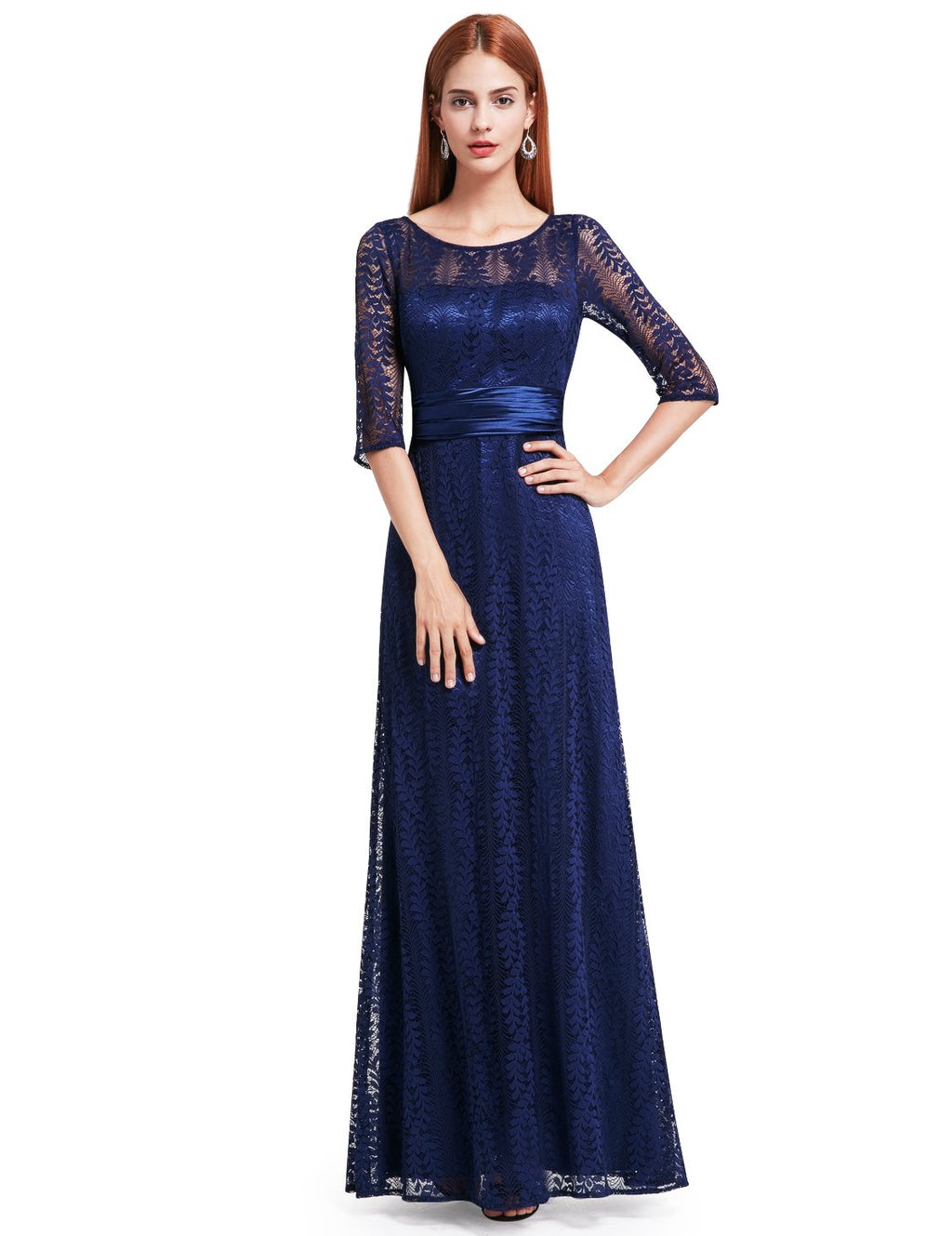 Half Sleeves Party Gorgeous Gown Blue