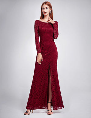 Long Sleeves Lace Slit Dress Burgundy