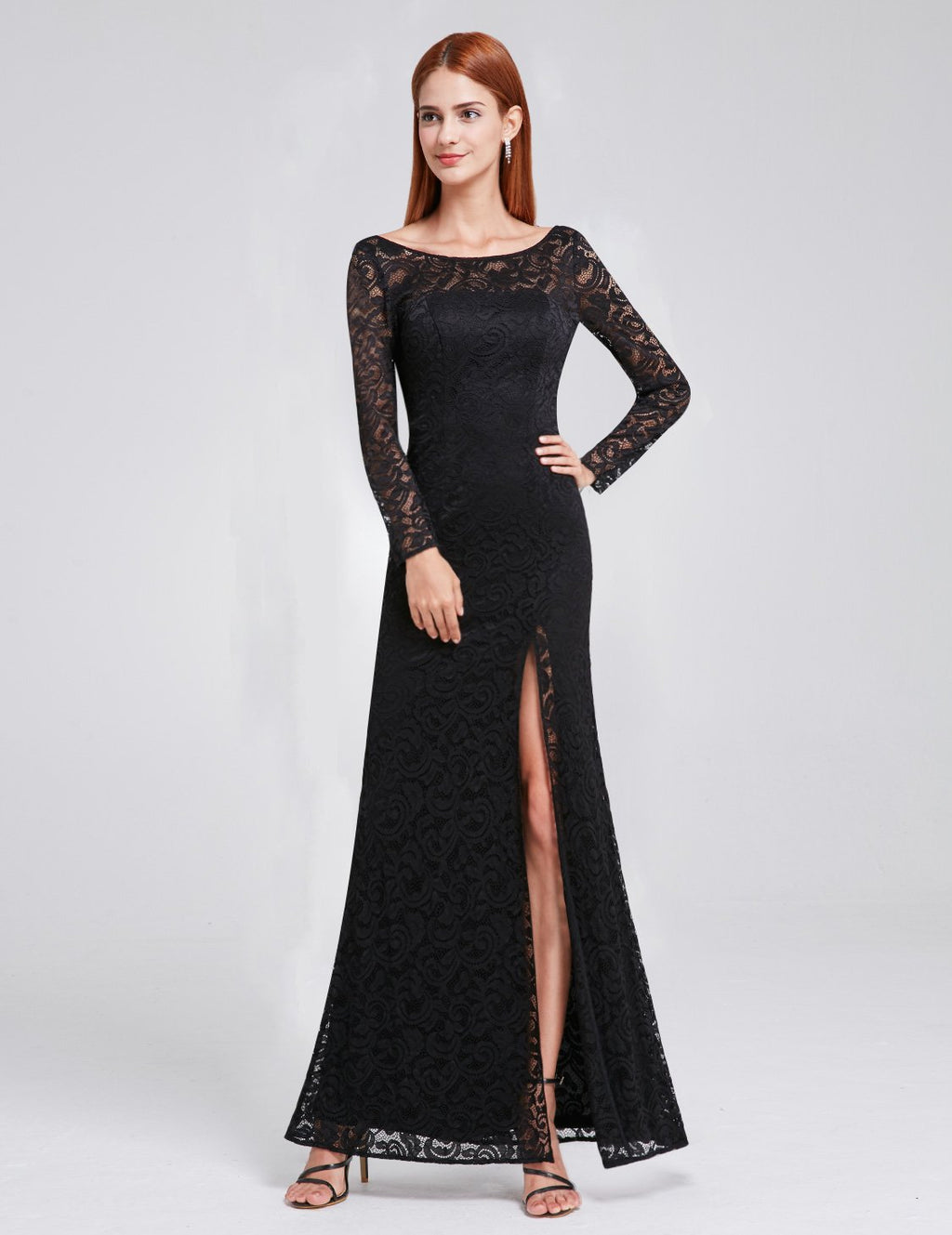 Long Sleeves Lace Slit Dress Black
